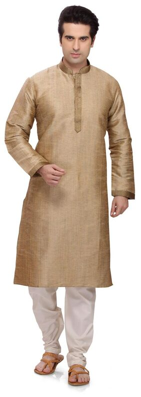 RG Designers Men Regular Fit Cotton Full Sleeves Solid Kurta Pyjama - Gold