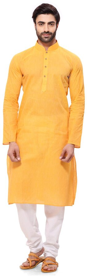 RG Designers Men Regular Fit Cotton Full Sleeves Solid Kurta Pyjama - Yellow