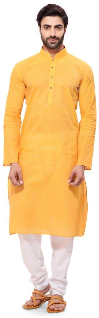 RG Designers Men Regular Fit Cotton Full Sleeves Solid Kurta Pyjama - Yellow