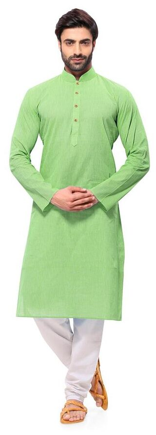 RG Designers Men Regular Fit Cotton Full Sleeves Solid Kurta Pyjama - Green