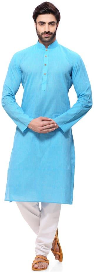 RG Designers Blue Cotton Kurta Pyjamas