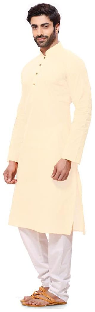 RG Designers Men Regular fit Cotton Full sleeves Solid Kurta Pyjama - Beige