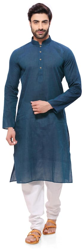 RG Designers Men Regular Fit Cotton Full Sleeves Solid Kurta Pyjama - Blue