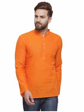 RG Designers Men Short Cotton Solid Kurta - Orange