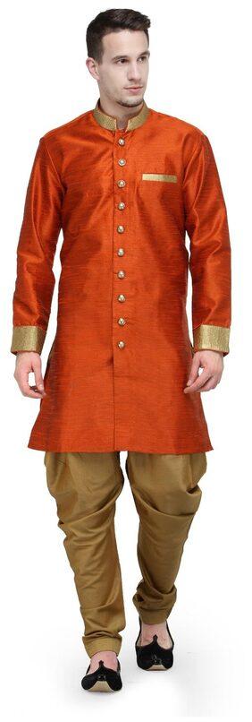 RG Designers Silk Short Sherwani - Red