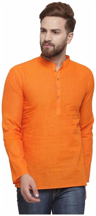 RG Designers Men Short Cotton Solid Kurta - Orange