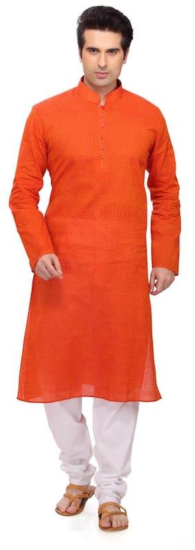 RG Designers Men Regular Fit Cotton Full Sleeves Printed Kurta Pyjama - Orange