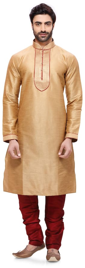 RG Designers Yellow Silk Kurta Pyjamas
