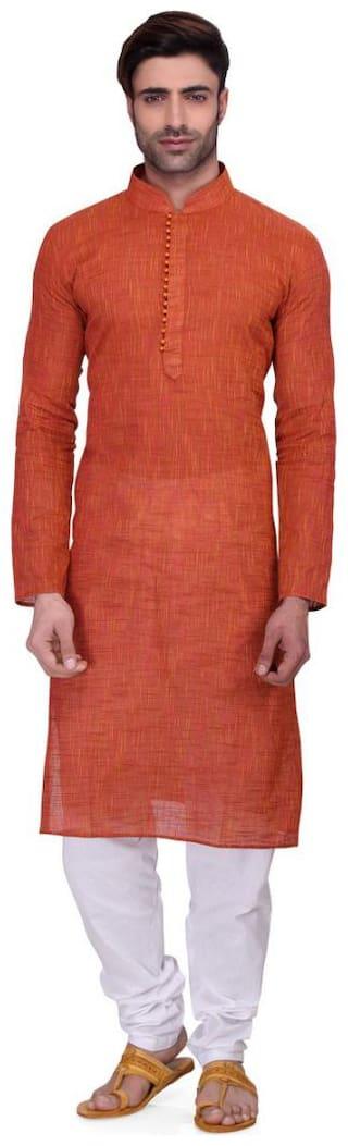 RG Designers Men Regular fit Cotton 3/4th sleeves Solid Kurta Pyjama - Red
