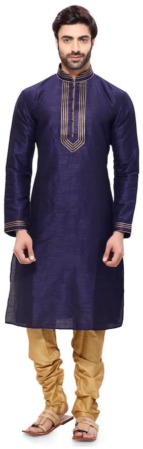 RG Designers Men Regular Fit Silk Full Sleeves Solid Kurta Pyjama - Blue