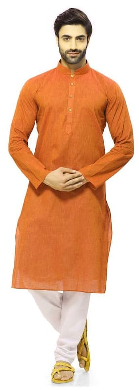 RG Designers Men Regular Fit Cotton Full Sleeves Solid Kurta Pyjama - Orange