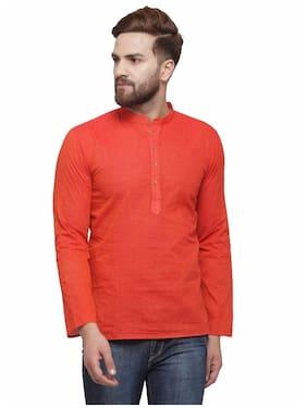 RG Designers Men Medium Cotton Solid Kurta - Pink