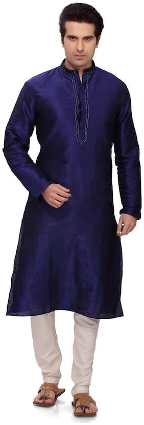 RG Designers Men Regular fit Cotton Full sleeves Kurta Pyjama - Blue