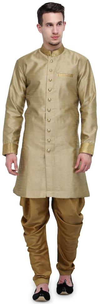 RG Designers Silk Short Sherwani - Brown