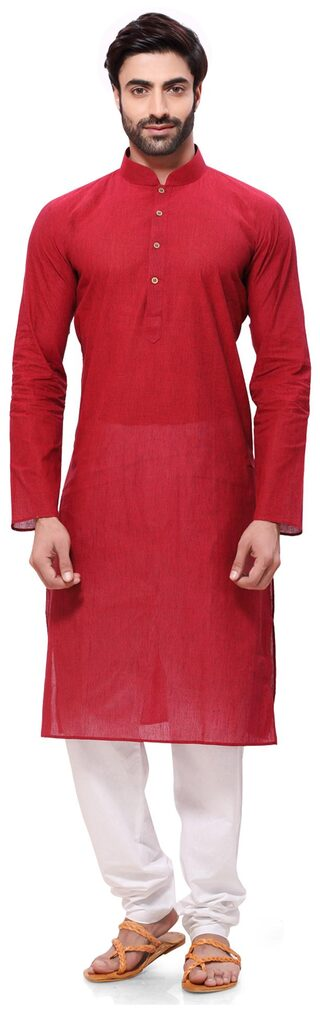 RG Designers Men Regular Fit Cotton Full Sleeves Solid Kurta Pyjama - Red