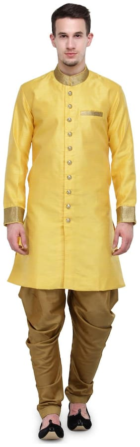 RG Designers Yellow And Gold Plain Sherwani For Men