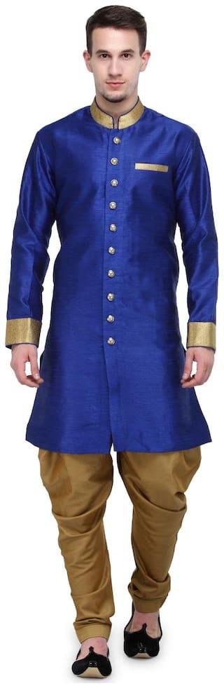 RG Designers Silk Medium Sherwani - Blue