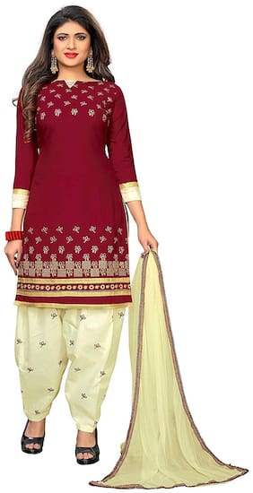 Rhythm Fabrics Maroon Unstitched Kurta with bottom & dupatta With dupatta Dress Material