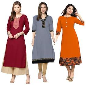 Rhythm Fabrics Multi Kurta Fabric Cotton Blend Long Kurti Semi Stitched Women
