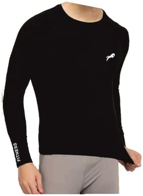 JUST RIDER Men Black Regular fit Cotton Lycra Round neck T-Shirt - Pack Of 1