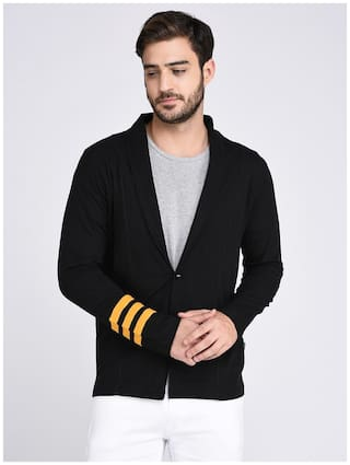 Rigo Black Contrast Stripe Patch On Sleeve Cardigan -Full