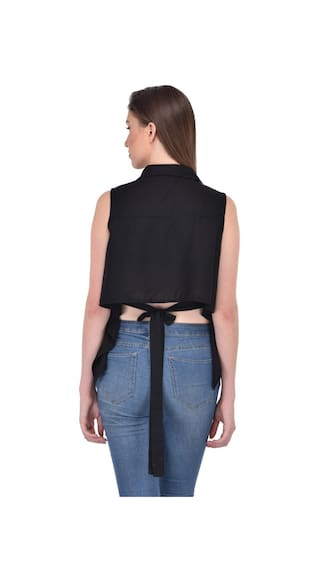 Back for Black Rayon Top RIGO women Shirt Tie 7qPgRxxnw