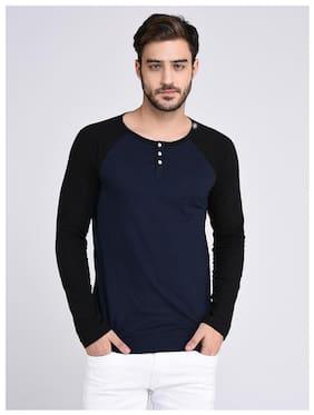 048a5179f7b RIGO Men Regular Fit Henley Neck Striped T-Shirt - Navy Blue