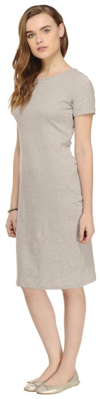Bodycon Rigo Grey dress Solid Sleeve Half length Knee rqfawAqY