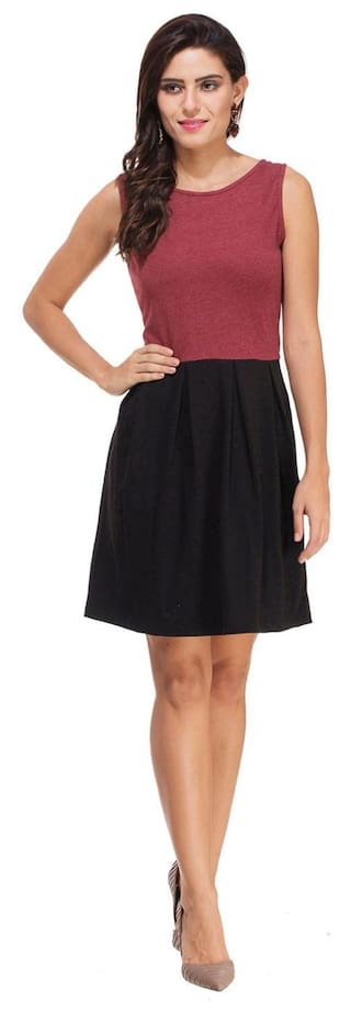 Maroon Dress Knitted and Black Melange Rigo RS6dqR