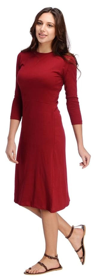 Midi Maroon Midi Dress Aline Maroon Rigo Rigo Aline Dress vAw5qx4AS