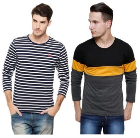 Rigo Men Regular Fit Round Neck Striped T-Shirt - Multi
