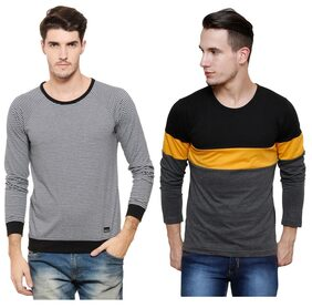 Rigo Multicolour RoundNeck T-Shirt For Men (Pack of 2)