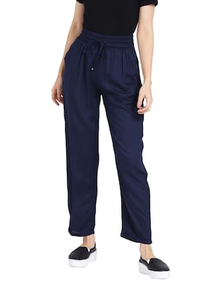 Rigo Navy Blue Rayon Trousers for Women