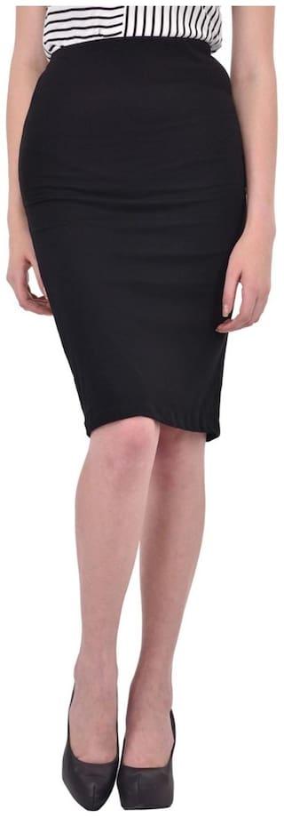 RIGO Solid Black Pencil Skirt for women