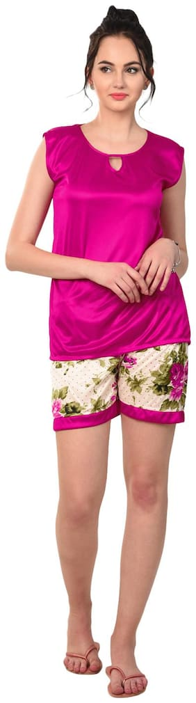 RIKOSA Women Satin Floral Top and Shorts Set - Magenta