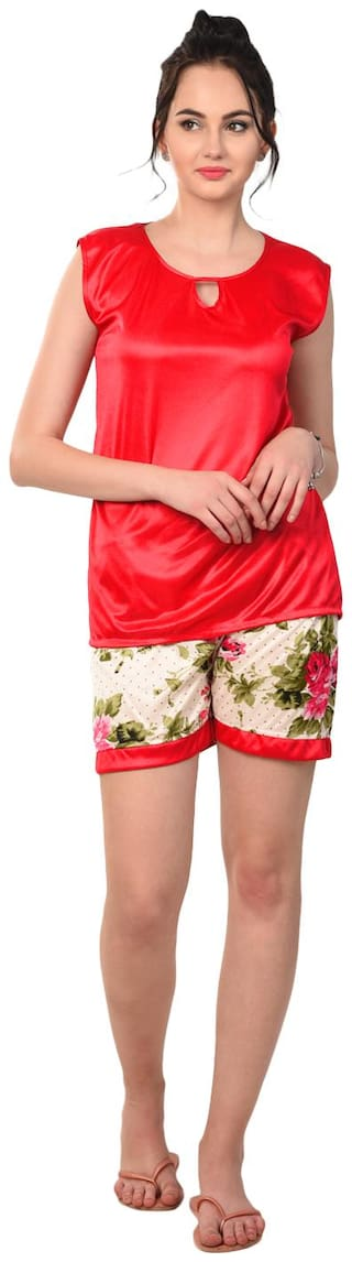 RIKOSA Women Satin Floral Top and Shorts Set - Red