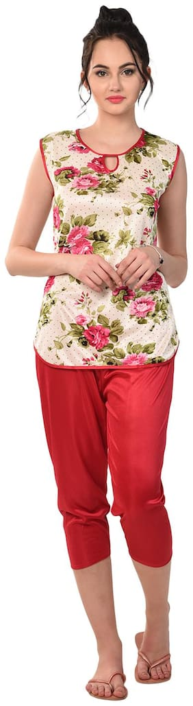 RIKOSA Women Satin Floral Top and Capri Set - Multi