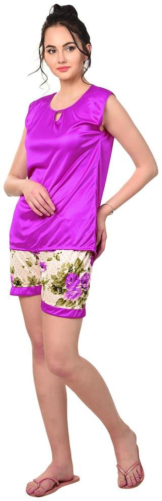 RIKOSA Women Satin Floral Top and Shorts Set - Purple