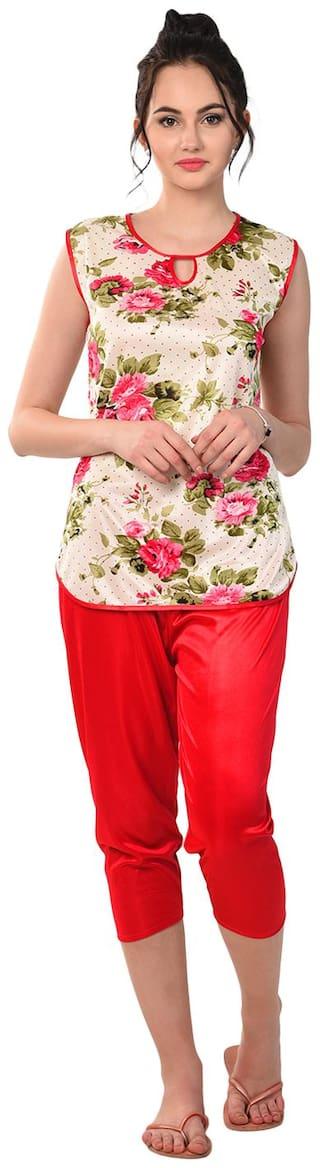 RIKOSA Women Satin Floral Top and Capri Set - Multi