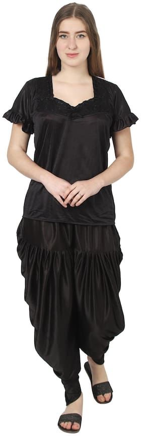 Rikosa Women Satin Solid Top And Dhoti Set (Black)