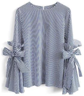 RW RIMSHA WEAR Women Cotton Striped - Regular top Blue