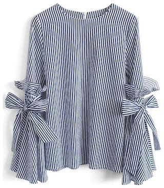 RW RIMSHA WEAR Women Cotton Striped - Regular top Blue