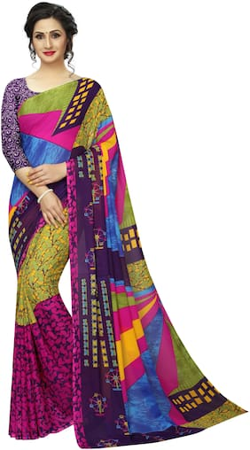 Ringneck  Multi Heavy Georgette Saree With Blouse