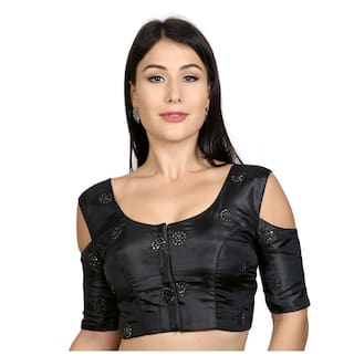 Rinkoo Black Cold Shoulder Sequence Embroidered Padded Readymade Saree Blouse