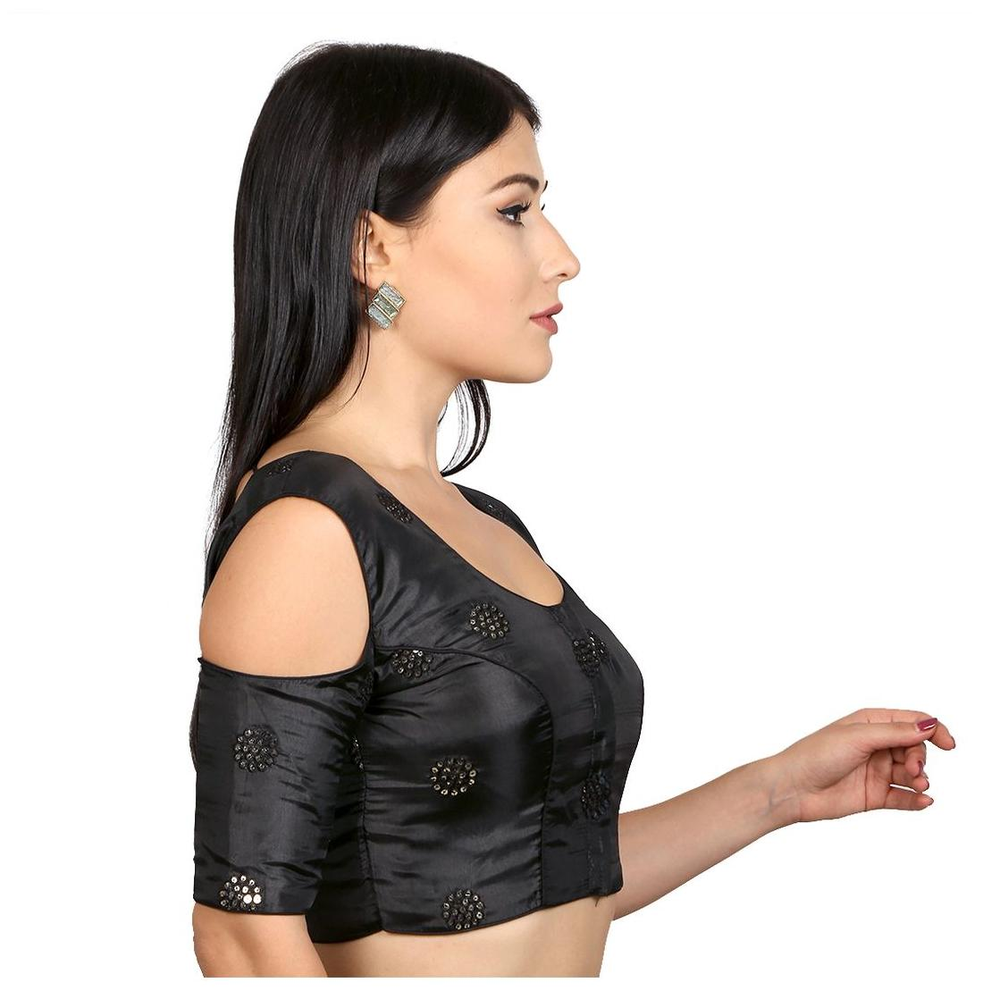 Buy Rinkoo Black Cold Shoulder Sequence Embroidered Padded Readymade Saree Blouse Online at Low Prices in India - Paytmmall.com