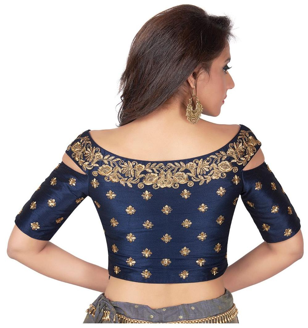 eb08978d2828f Buy Rinkoo Navy Blue Embroidered Cold Shoulder Designer Readymade Saree  Blouse Online at Low Prices in India - Paytmmall.com