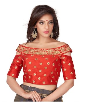 05d05272385c3 Buy Rinkoo Red Embroidered Cold Shoulder Designer Readymade Saree ...