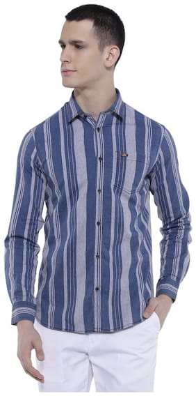 RISQUE Men Blue & Grey Vertical Stripes Regular Fit Casual Shirt