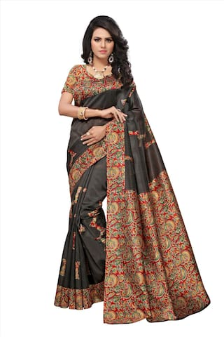 a44c6141304ee9 Riti Riwaz Sarees Kalamkari Black And Multi Coloured Art Silk Traditional  Party Wear Women Saree