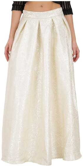 SVTADA COLLECTION Solid A-line skirt Maxi Skirt - White